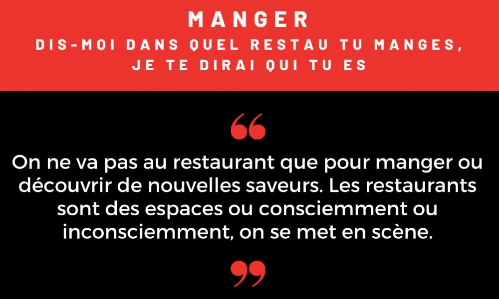 Manger - la sociologie du restaurant